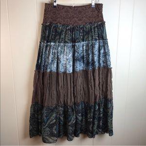 Heart Moon Star Hippie Boho Tiered Maxi Skirt